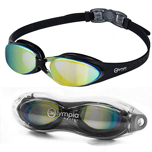 Olympic Nation Pro Swim Goggles for Adults and Youth, Black with Aqua Lens