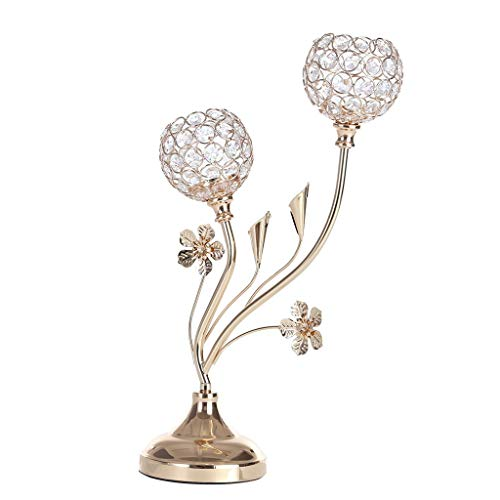 Transser Romantic Crystal Candlestick - Luxury Tealight Candle Holder Candelabra for Wedding Valentine's Day Candlelight Dinner Decoration, Shipping From CA. or NJ.