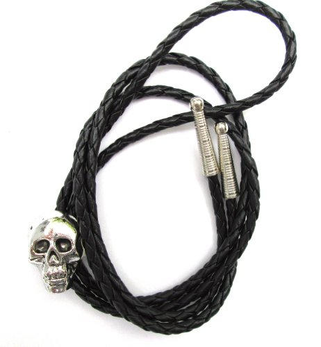 Western Bolo Tie with Cast Skull Ornament; Antiqued Finish