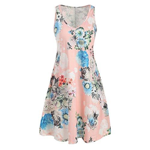 Toponly Beach Flower Printed Tank Dress for Women Casual Loose V-Neck Sleeveless Dress