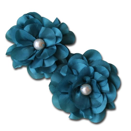 (Maya Road TK2434 Satin Scallop Edge Blooms Flowers, Teal)