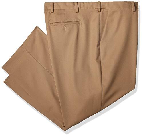 Arrow Men's Flat Front Straight Fit Solid Twill Micro Dress Pant, Khaki, 38W x - Travelers Leg Wide Pants