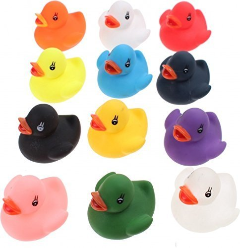 12 Colourful Bath Ducks UMKYTOYS