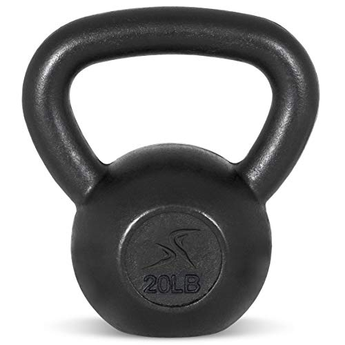Prosource Fit Solid Cast Iron Kettlebells Weights for Full Body Workout, 20 pounds