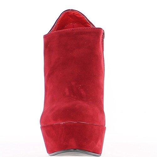 Botas de tacón rojo 14 cm con estante y cremallera