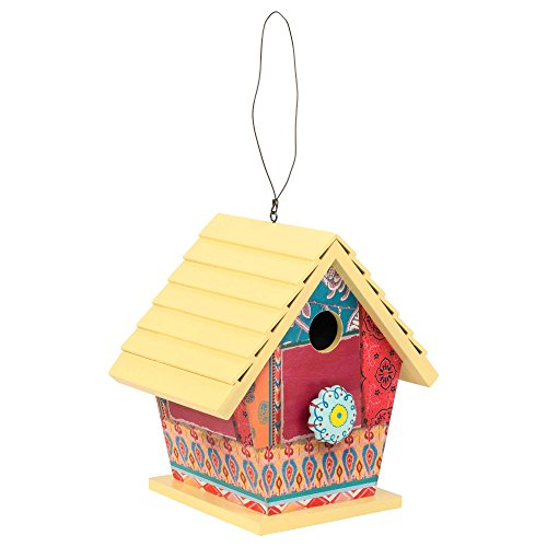 Boho Wooden Birdhouse with Ceramic Knob For Sale