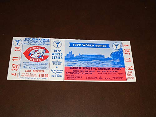 RARE 1972 CINCINNATI REDS VS OAKLAND A'S WORLD SERIES FULL UNUSED TICKET GAME 7 A'S CLINCH