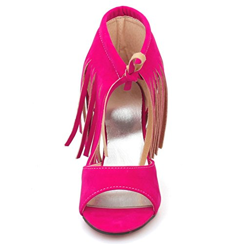 Red with Toe TAOFFEN Rose High Up Lace Sandals Fringe Women Open Heels Fashion n6q76WpB