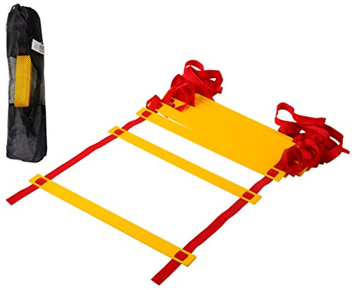 CQ Wellness AL1YL Adjustable Flat Rung Agility Ladder with Free Carry Bag