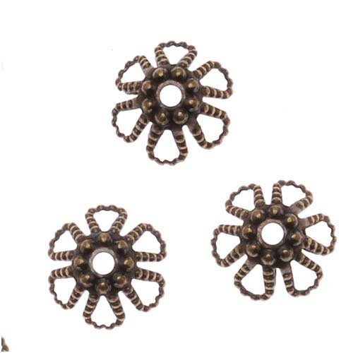 Antiqued Brass Cone Flower Bead Caps 6mm x 3.5mm (50) ()