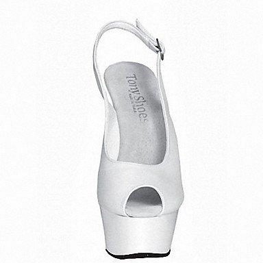 RTRY Zapatillas De Mujer &Amp; Flip-Flops Zapatillas Pvc Summer Party &Amp; Noche Crystal Stiletto Talón Ruby Negro Blanco 5En &Amp; Más US11 / EU43 / UK9 / CN44