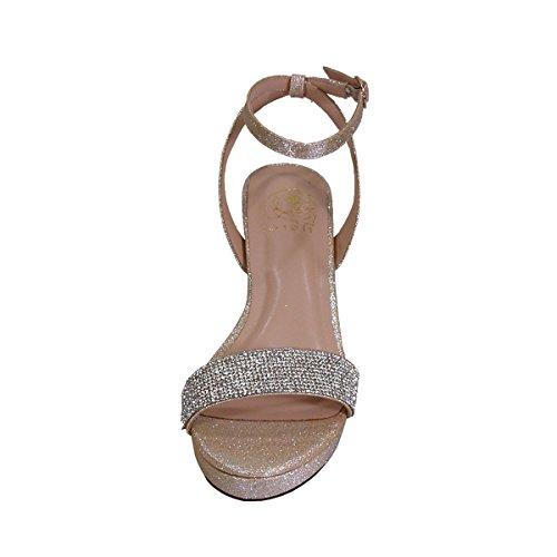Floreali Maria Donne Ampia Larghezza Splendida Strass Strass Party Dressy Sandali Con Tacco (misura / Misura) Champagne