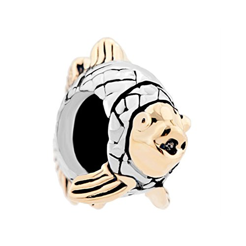 CharmsStory Clownfish Animal Charms Silver/Gold Plated Bead Charm For Bracelets
