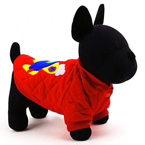 Thicken Warm Pet Apparel with Cute Plane Embroidery (XXS, red)