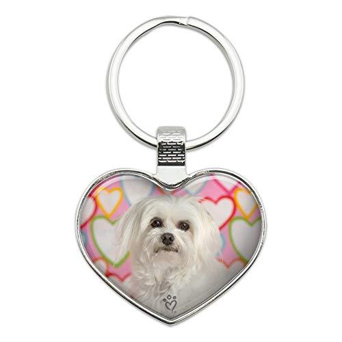 Maltese Keychain - Maltese Puppy Dog Hearts Love Heart Love Metal Keychain Key Chain Ring