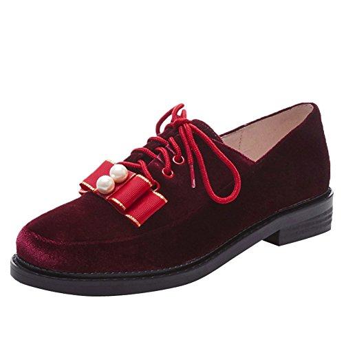 Latasa Womens Cute Faux Suede Lace up Flat Oxford Shoes Bordeaux Drgjir5