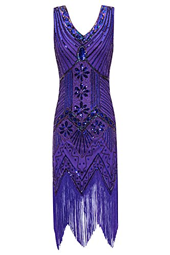 Metme Women's 1920s V Neck Beaded Fringed Gatsby Theme Flapper Dress for Prom,Violet,Large