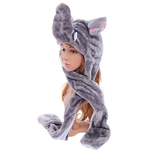 Animal Hat Winter Hat Fluffy Warm_Elephant_Cap Mittens Scarf(US Seller)