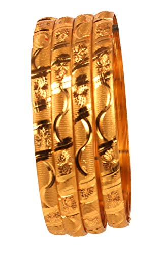- Touchstone New Golden Bangle Collection Indian Bollywood Desire Brass Fine Serpentine Cutting Depiction of Indian Fine Designer Bangle Bracelets Set of 4 in Matte Gold and Gold Tone for Women