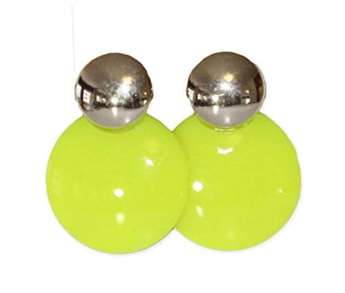 Neon Nation Circular Button 1980s Style Costume Earring (Neon Yellow)