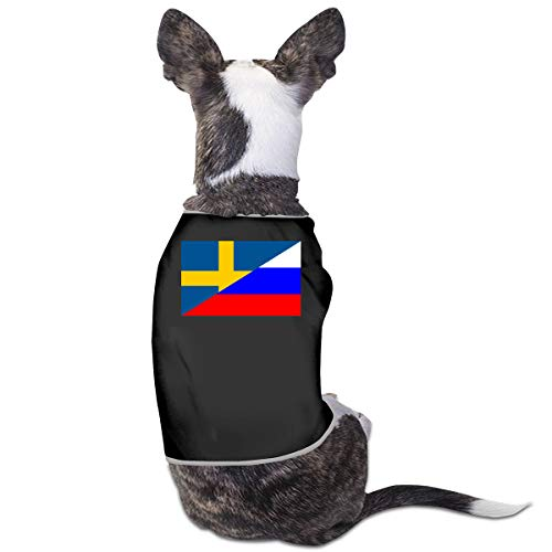 (LNUO-2 Pet Shirt Clothes, Flag of Sweden and Russia Dog Cat T-Shirts Clothes)