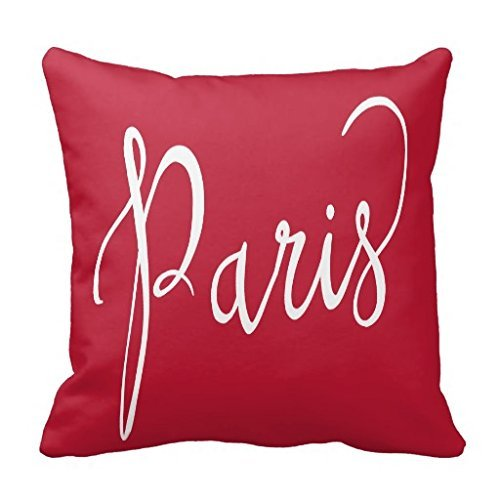 Chic Red And White Paris France Typography Throw pillow Case