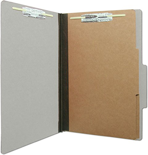 AMZfiling Colored Pressboard Classification Folder with 6 Sections- Gray, Legal Size, Top Tab (15/Box) ()