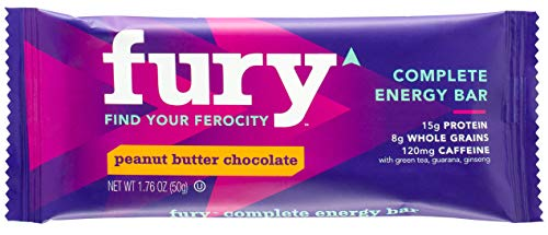 Fury Complete Caffeine Energy Bar - Gluten Free and Dairy Free - Oat Protein Bar- 15g Protein, 120mg Caffeine - Peanut Butter Chocolate Flavor- 190 Calories (4 Bars Per Pack)