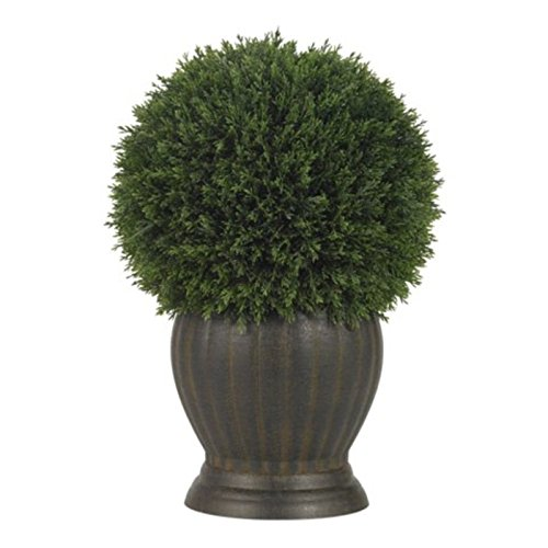 GHP Natural Looking Artificial Cedar Ball Topiary/Vase Silk Faux Plants (Globe Topiary)