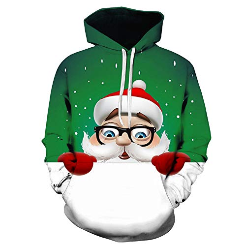 Unisex Sweatshirt Hooded,Mens 3D Printed Christmas Pullover,Cute Sweatshirt Hoodies Pullover(XL,Green) for $<!--$10.59-->