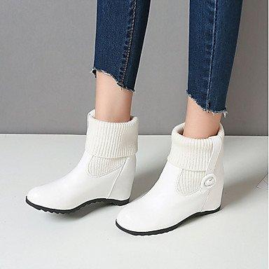 For Career Wedge Fall amp;Amp; Booties Shoes Leatherette Heel Ankle Fashion Winter Boots Round Women'S Boots CN36 Casual EU36 US6 Buckle Office RTRY Boots Toe UK4 wa8tHqRnx