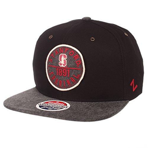 Zephyr NCAA Stanford Cardinal Men's Admiral Snapback Hat, Adjustable, Black/Gray