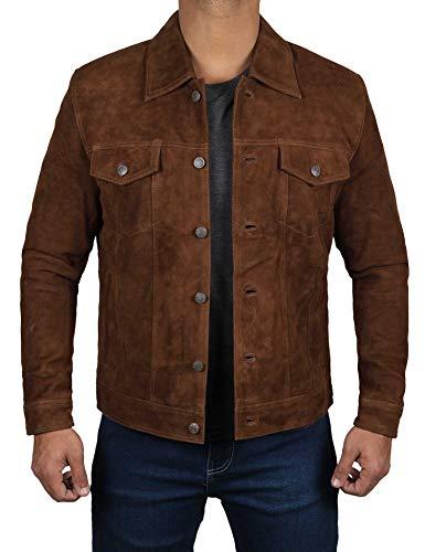 Mens Suede Jacket - Brown Leather Jackets for Men | [1100365], Logan Dark Brown ()
