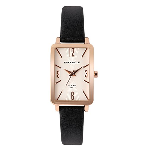 Womens Fashion Watch,Ladies Rose Gold-Rectangular Case Luxury Elegant Dress Waterproof Quartz Casual Wrist Watches for Ladies and Girls with Genuine Leather Band (Black)
