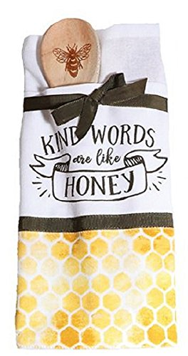 Bees Knees Dish Towel and Spoon Set (Kind Words are like Honey)