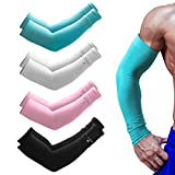 Cooling Arm Sleeves for Men Women, DASUTA UPF 50 UV Protection Sun Sleeve Long Arm Cover Sleeves Arm Warmer for Running, Cycling, Driving, Fishing, Golf, Basketball, Baseball, Football (4 Pairs)