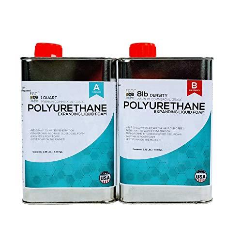 (Polyurethane Expanding Liquid Foam 1/2 Gallon KIT, 8 LB Density Polyurethane Foam, Includes 1 Quart Part A & 1 Quart Part B, 2 Part Polyurethane Marine Foam)