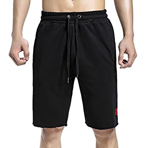 BROKIG Mens Gym Shorts Jogging Pants Fitness Workout Running Short with Pockets (Small/Tag M, Black)