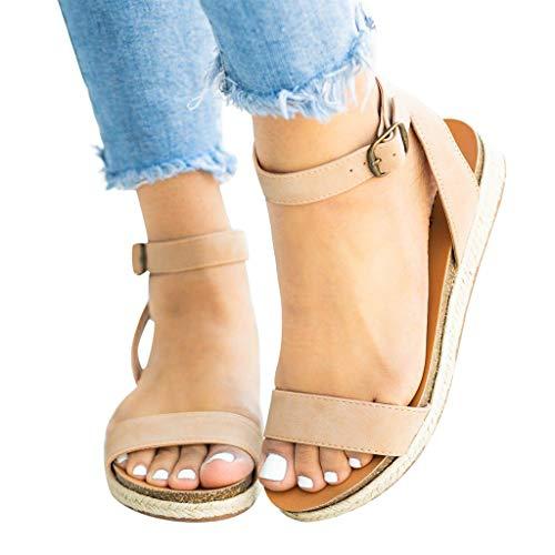Women's Sandals Ladies Strap Mules Ankle Buckle Flatform Wedges Woven Sandals Roman Shoes Casual Flats Beige ()