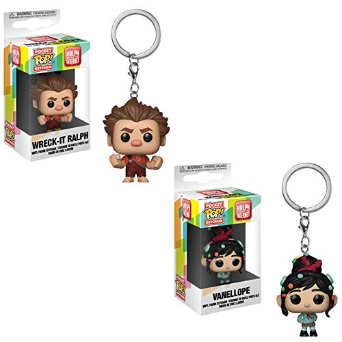 Funko Pocket POP! Movies Disney Ralph Breaks The Internet: Wreck-It Ralph and Vanellope Keychain Toy Action Figures - 2 POP Bundle