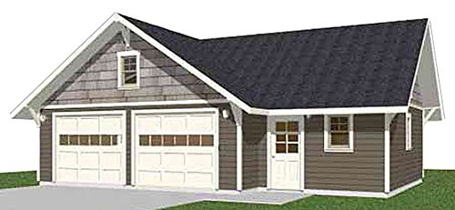 Garage Plans: Craftsman Style Two Car Garage With Shop - Plan 816-7