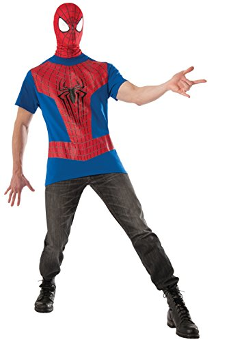 All Spiderman Costumes In Amazing Spider Man (Rubie's Costume Men's Marvel Universe, The Amazing Spider-man 2 Costume Top and Mask, Multicolor, Large)