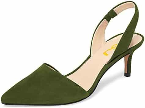 3aaa6503634a FSJ Women Fashion Low Kitten Heels Pumps Pointed Toe Slingback Sandals  Dress Shoes Size 4-