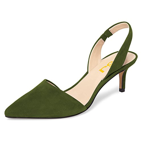 FSJ Women Fashion Low Kitten Heels Pumps Pointed Toe Slingback Sandals Dress Shoes Size 8 Olive Green