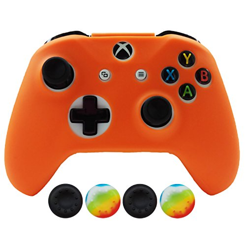 Hikfly Silicone Controller Cover Skin Protector Case Faceplates Kits for Xbox One X/One S/Slim Controller with 4pcs Thumb Grips Caps(Orange)