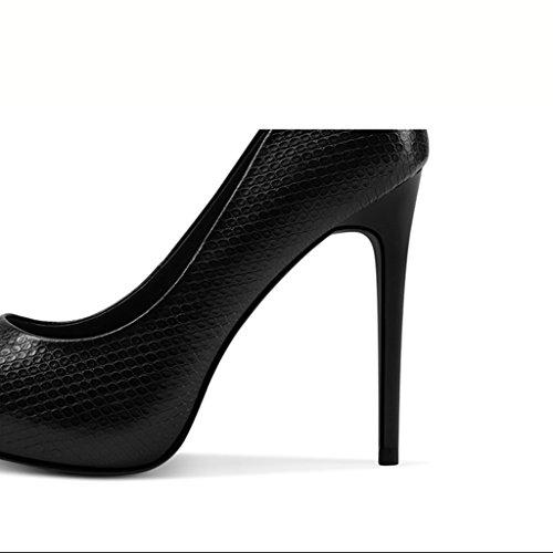 Hauts Noires des Femmes Wysm Noir Talons Chaussures à Peu Chaussures Bouche Avec Pointues 11cm en Cuir Chaussures Profonde RRzqx5n