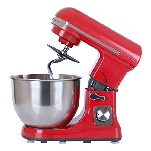 Wonderchef Stand Mixer and Beater, 3 Attachments, 6 Speed Setting, 5L Bowl, 1000W – Red