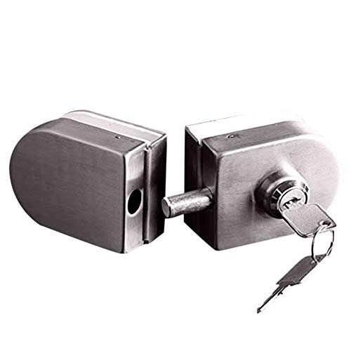With 2 Keys Only Fit 10mm -12mm Thickness Single Swing Hinged Frameless Glass Door Locks Stainless Steel Anti Theft Security Lock ()