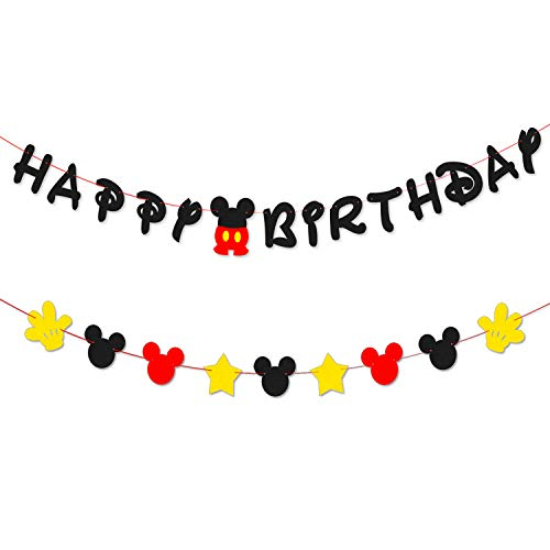 PANTIDE Mickey Mouse Birthday Banner Garland Mickey Mouse Themed Party Supplies Home Decoration Mickey Mouse Inspired Birthday Party Favor -