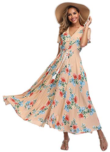 VintageClothing Women's Floral Print Maxi Dresses Boho Button Up Split Beach Party Dress, L